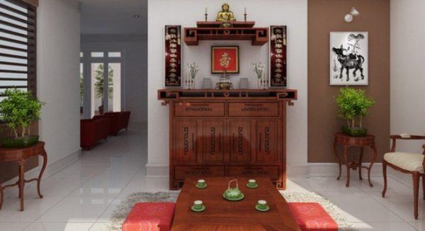 tủ thờ kết hợp với phòng khách